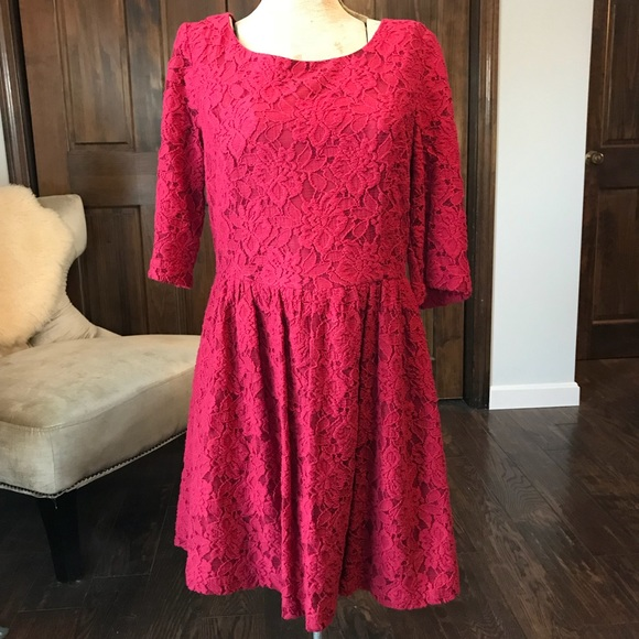 dc065fef93b3 kenzie Dresses | Macys Red Lace Dress Womens Size M | Poshmark